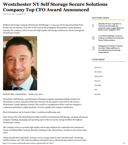 Westchester CFO award screenshot