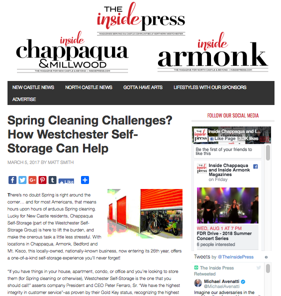 The Inside Press spring cleaning press release screen shot